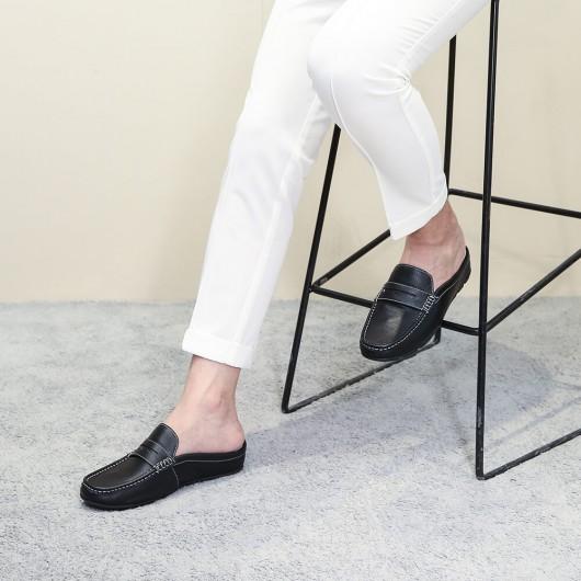 Chamaripa Höhe zunehmende Slipper Schuhe schwarz Leder Kleid Pantoffel Aufzug Mokassins Fahrschuhe 5 CM