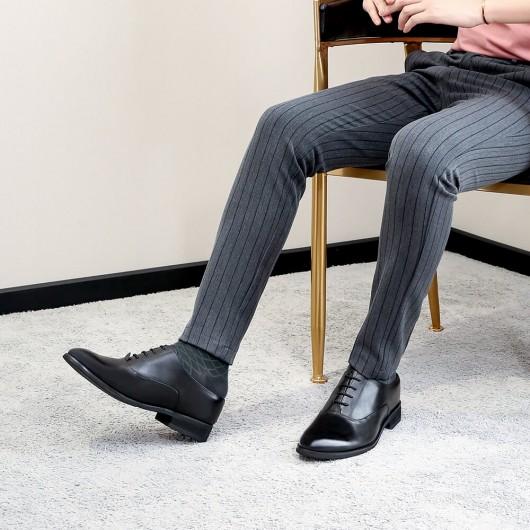 Chamaripa Höhe zunehmende Slip-On Schuhe Aufzug Schuhe für Männer schwarz Leder Kleid Hausschuhe 7CM