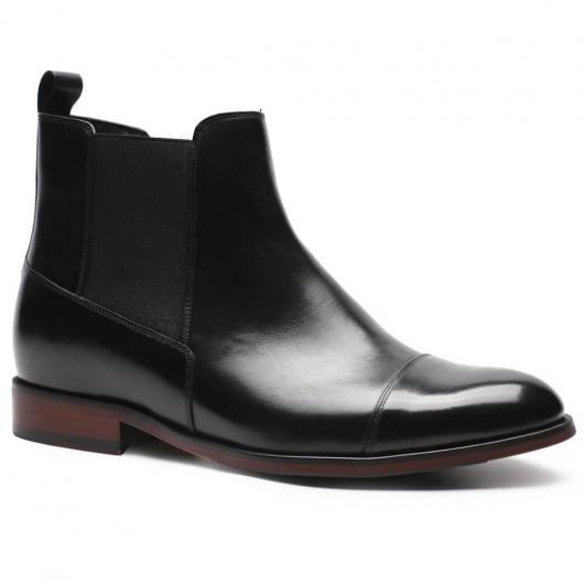 CHAMARIPA herrenschuhe mit absatz - schuhe für kleine männer - schwarze Chelsea-Lederstiefel für Herren 7 CM größer
