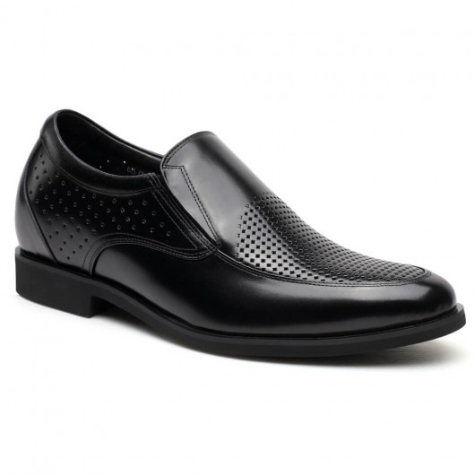 Schwarz Männer Atmungsaktive Plattform Sandalen Leder Slip-on Aufzug Schuhe Sommer lifting schuhe 7 cm