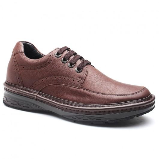 Braun lässige Männergröße erhöhen Schuhe Aufzüge Schuhe Leder Männer Taller Schuhe 7 CM
