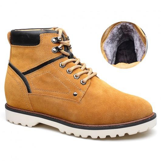 Gelb Erhöhung Stiefel für Männer Winter Wildleder Stiefel Velvet Lift Stiefel für Männer 7 cm