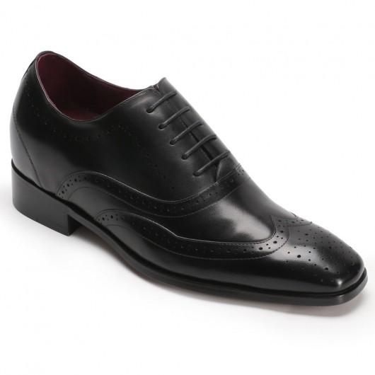 Größe aufsteigend Kleid Schwarz Oxfords Herren Wingtip Schuhe 7 CM
