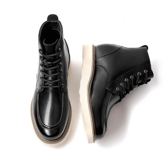 Chamaripa Höhenerhöhende Stiefel für Männer Schwarz Lässige Schnürstiefel mit einer Körpergröße von 9 cm