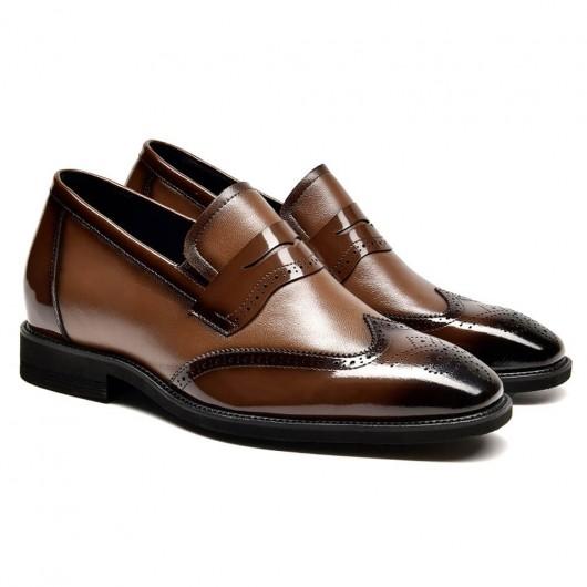 Chamaripa Höhe Erhöhung Loafer brauner Penny Loafer Schuhe, die Männer größer machen 7 CM