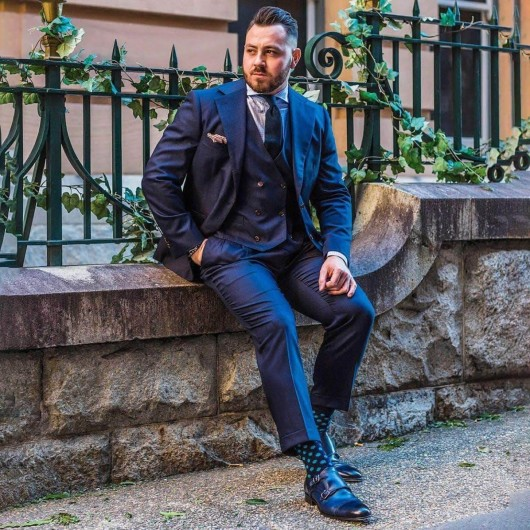 Chamaripa Geschäftsaufzug Schuhe High Heel Herren Kleid Schuhe Doppelschnalle Mönchriemen blau 7 CM