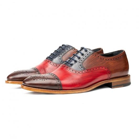 Chamaripa Höhe zunehmende Schuhe Multicolor Kuhleder Männer Oxford Flügelspitzen Brogue 7CM