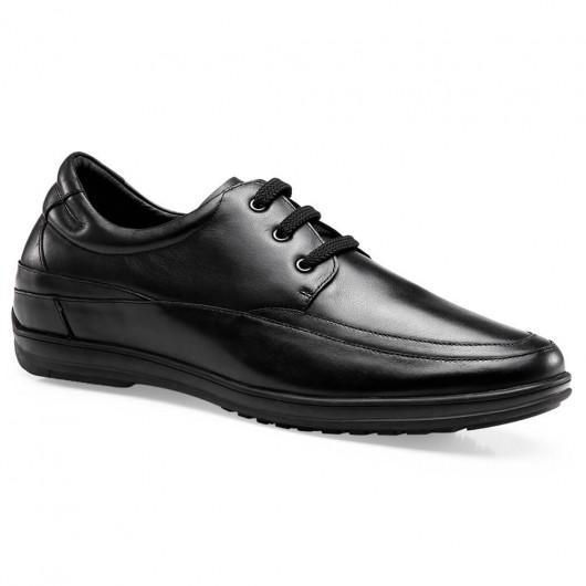 Chamaripa Höhe Erhöhende Schuhe Schwarzes Leder Casual Elevator Schuhe Fahrerschuhe 6 CM