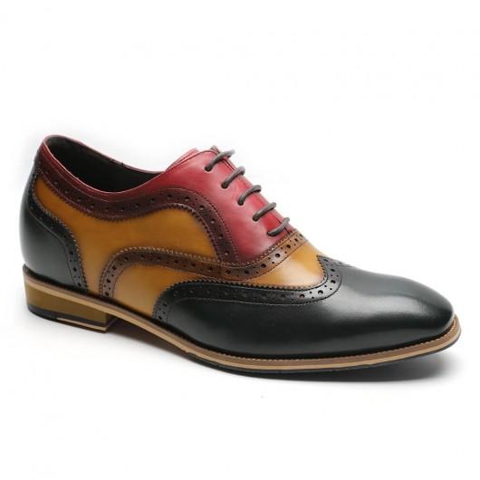 Chamaripa Höhenerhöhende Schuhe Handgefertigte Derby-Aufzugsschuhe aus brüniertem Leder 7CM