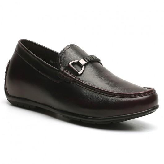Höhe Erziehen Schuhe Weinrot Slipper Herren Schuhe Aufzüge Add Höhe Einlegesohlen 6 CM