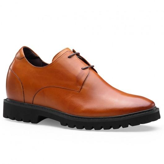 Männer braune Derby Business Größe zunehmende Schuhe 9 CM