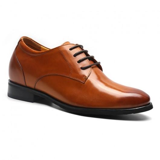 Formelle braune Derby Kleid Höhe zunehmende Schuhe 7,5 cm