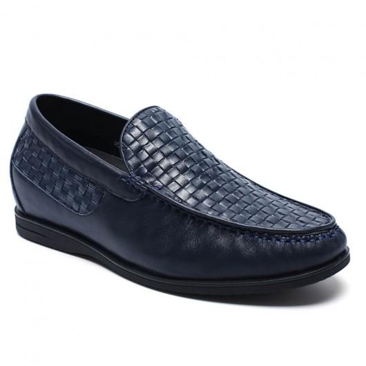 Blau Gewohnheit versteckte Ferse Plateauschuhe   Slip-on Männer Fahrstuhl Schuhe Casual Loafer Schuhe Gain Höhe 6 cm