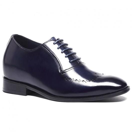 Blau Leder Lifting Schuhe für Männer Benutzerdefinierte große Männer Schuhe zu Hinzufügen Höhe 7cm