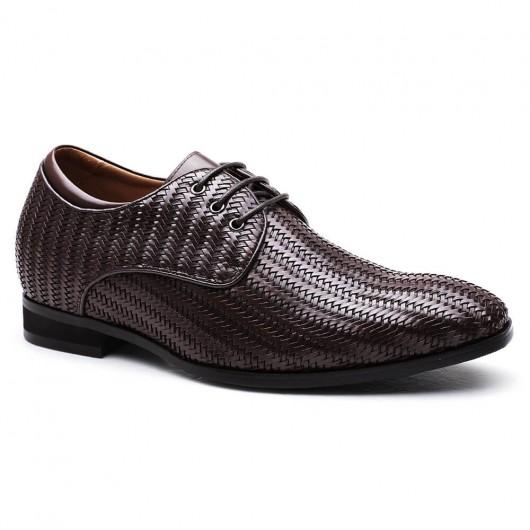 Braun Luxus-Aufzugs-Schuh-kundenspezifische Männer-anhebende Schuhe Leder-Höhe-zunehmende Schuhe 7CM