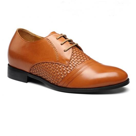 Braun Aufzug Schuhe für Short Man Superior-Leder-Designer-Kleid Genuine