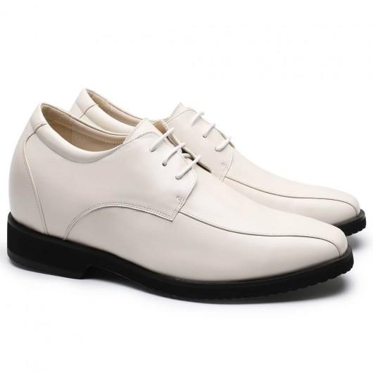 CHAMARIPA Herren Größe zunehmende Turnschuhe weißes Leder größere Schuhe 9 CM