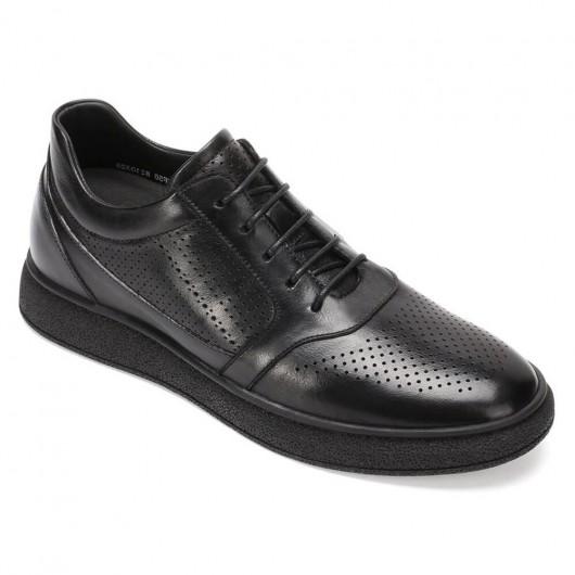 CHAMARIPA schuhe für kleine männer - sneaker die größer machen herren - schwarze Leder lässige Turnschuhe 6 CM größer
