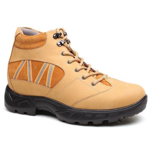 Gelb Männer Höhe Erhöhung Schuhe Outdoor Wandern Aufzug Stiefel Lace-up Tall Herren Schuhe 8CM