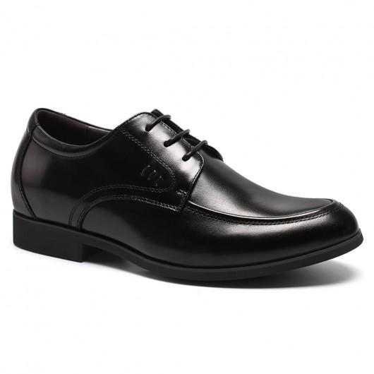 Herren Kleid Schuh hebt Schuhe mit Absätzen in schwarzem Leder Kleid Schuhe 6 CM