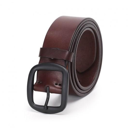 Chamaripa Casual Herrengürtel Echter handgefertigter Ledergürtel mit Schnalle Dunkelbraun
