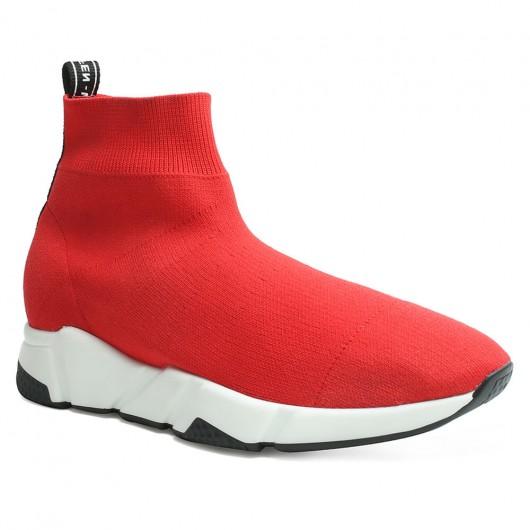 Schuhe für zunehmende Höhe rot hoch oben Strick Socke Turnschuhe Herren größer Schuhe 6 CM