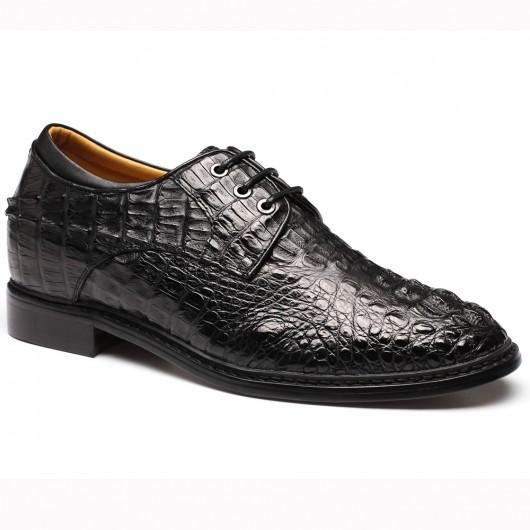 Schwarz Größere Schuhe Handmade Full Crocodile Leder Schuhe Herren Lifting Schuhe