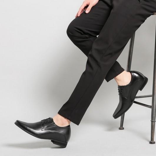 Chamaripa Schuhe die Größer machen - hohe absätze für männer -Business-Schuhe schwarz 8 CM Grösser