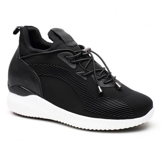 Schwarz Höhe Erhöhung Schuhe Aufzug Schuhe Aufzug Sneaker versteckte High Heel Schuhe für Frauen 8CM