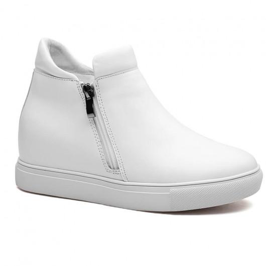 Weiß Frauen versteckt Schuhen mit hohen Absätzen Höhe Einlegesohle 7CM