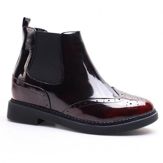 rot Frauen versteckte Ferse Stiefel Höhe zunehmende Oxfords Schuhe Leder Taller Schuhe 7 cm