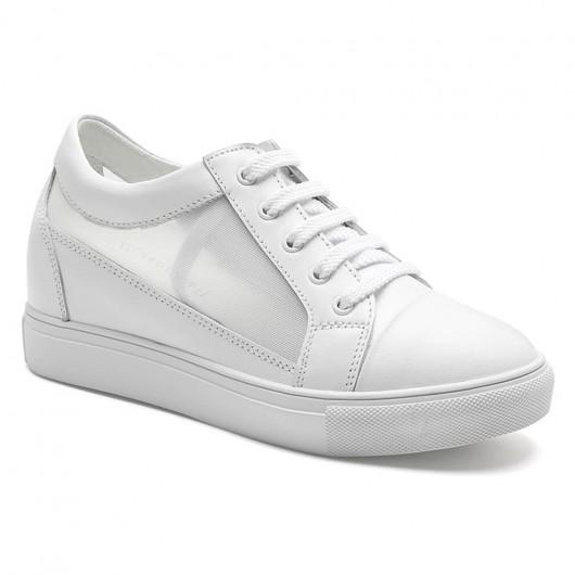 Versteckte Absatzschuhe für Damen atmungsaktiv weißer, ansteigender Sneaker 7 CM