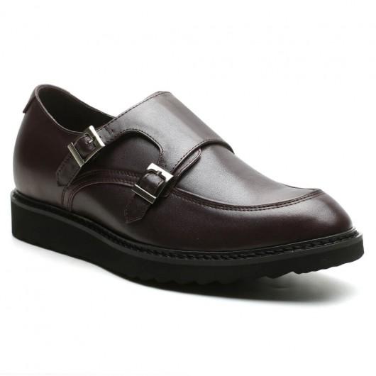 Walk Tall Schuhe Double Monk-Strap Schuhe mit Aufzügen Braune Höhe Schuhe 6cm