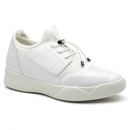 Weiß Straße Aufzug Sneakers Höhe Erhöhung Sport Schuhe Casual Herren Taller Schuhe 7 cm