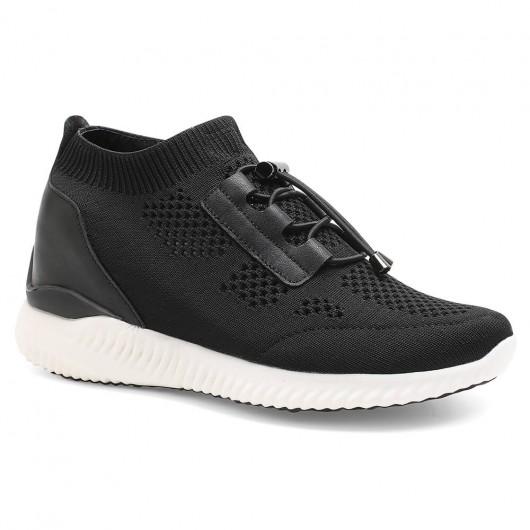 Schwarze, versteckte Fersenschuhe für Frauen stricken Sneaker zum Anheben von Turnschuhen 8CM