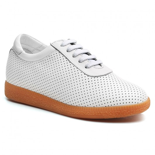 Frauen High Heel Schuhe Weiß Höhe erhöhen Sneaker Platform Sneaker, um größer 7 CM