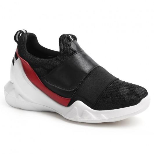 Frauen, die Sneaker-schwarze bequeme versteckte Ferse-Schuhe anheben, arbeiten Sport-Schuhe 7 CM