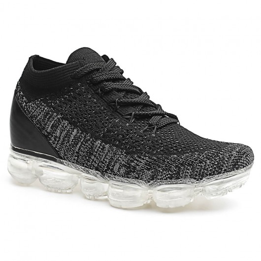schuhe mit verstecktem absatz frauen sneaker mit innenliegendem keilabsatz schwarz & grau 7 CM
