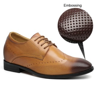 Brown Cow Leather elevator insoles Dress Shoes 7cm