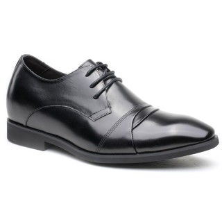 Brown calfskin leather wedding height increasing shoes