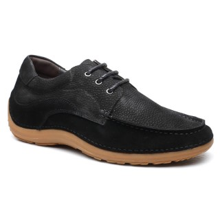 Suede Leather High Heel Shoes for Men Casual Elevator Shoes  with Heel Lift 6 CM / 2.36 Inches