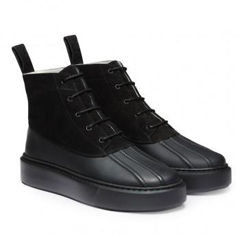 CHAMARIPA sneaker mit keilabsatz - keilsneaker - klobige Stiefel aus schwarzem Wildleder, 7 CM größer