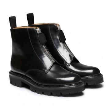 CHAMARIPA Frauen schwarze Keilstiefel - Keil Sneaker Stiefel - schwarzer Leder Derby Stiefel 7 CM größer