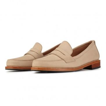CHAMARIPA Damenkeil-Slipper - versteckte Wedge-Sneakers - beige Leder-Penny-Loafer für Frauen - 5 CM größer