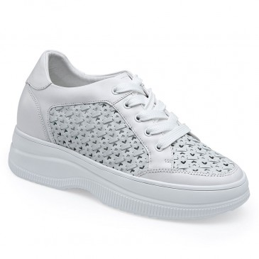 CHAMARIPA Keilsneakers -Sommer Gelochte Schuhe - weiße Ledersneaker für Damen 8CM