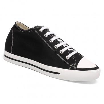 Chamaripa herrenschuhe mit absatz - sneaker die größer machen herren - schwarze Canvas Schuhe 6 CM Größer