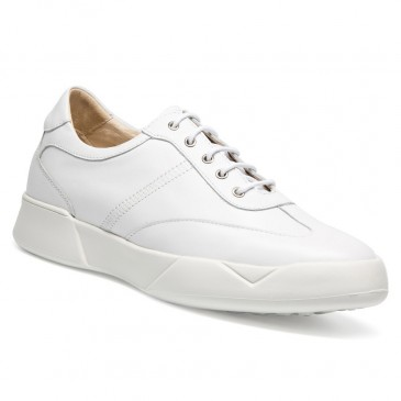 Chamaripa männer schuhe die größer machen - herrenschuhe mit hohen absätzen - weißer Ledersneaker 7 CM größer