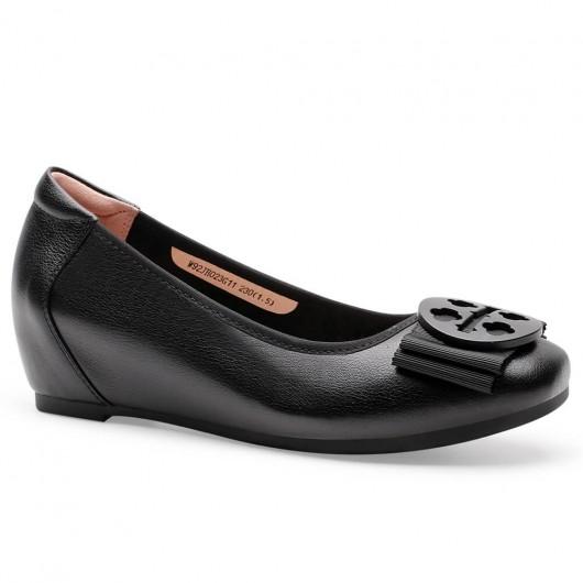 CHAMARIPA รองเท้าไม่มีส้นทรงลิฟต์สำหรับผู้หญิงรองเท้าเพิ่มความสูงสำหรับสุภาพสตรีหนังลูกวัวสีดำ 5CM