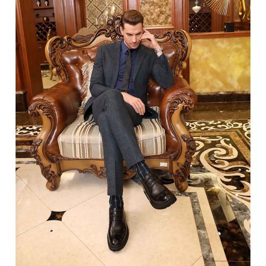 รองเท้าลิฟท์ - บุรุษรองเท้าส้นสูงเพื่อเพิ่มความสูงรองเท้าผู้ชายสูง 8 ซม