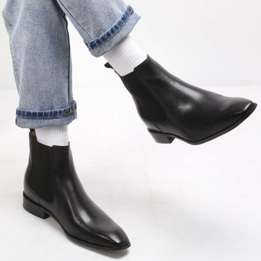 CHAMARIPA เพิ่มความสูงรองเท้าเชลซีหนังสีดำรองเท้าผู้ชายสูงรองเท้าบูทส้นสูงสำหรับผู้ชาย 7 ซม